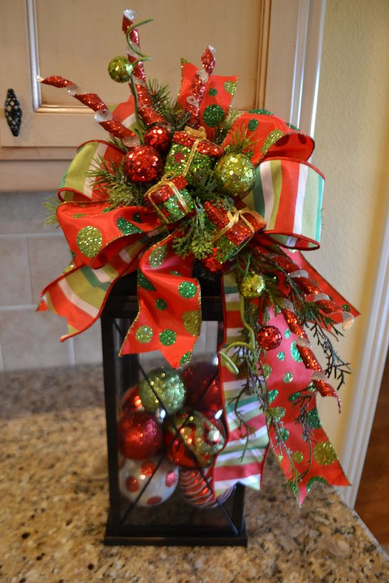 Whimsical present lantern swag girls centerpieces and xmas