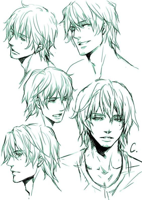 Male hair drawing