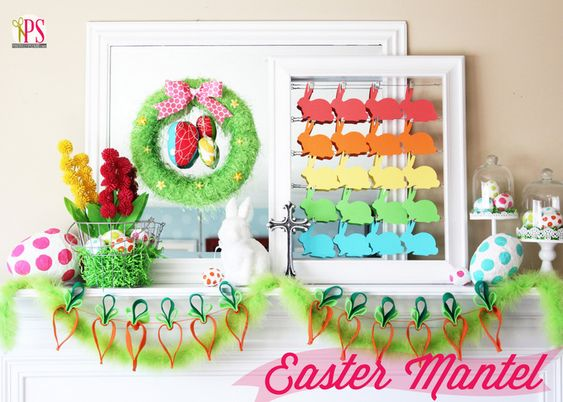 Can't decide which of the DIY projects on this festive Easter Mantel from Positively Splendid we like best. Felt carrot garland? Paper bunny rainbow? Easter egg wreath? Fortunately, she's got directions for them all!