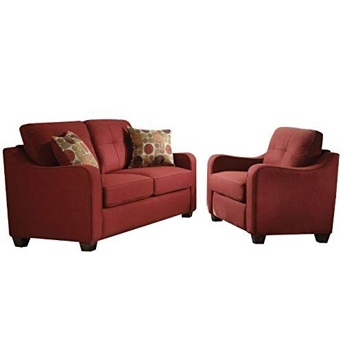Cozy 2 Piece Loveseat And Accent Chair Set In Red Accent Chair Set Leather Living Room Set Living Room Leather