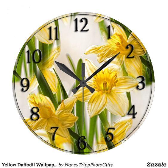 Yellow Daffodil Wallpaper Pattern Wall Clock