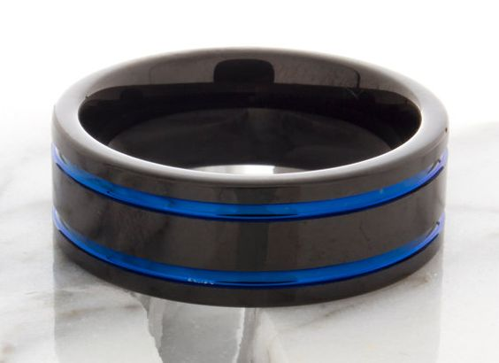 Tungsten Wedding Ring Blue Double Groove Black 8mm par DeluxeBands