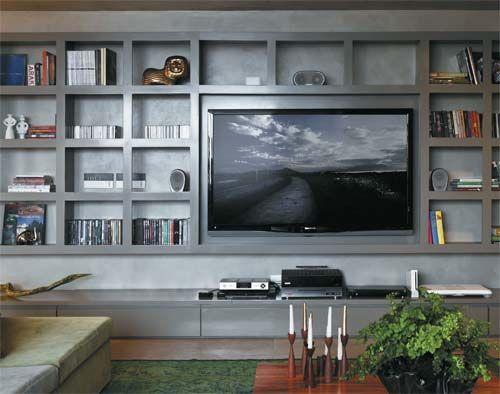 Estante para sala de estar + tv | via Simplesdecoracao.