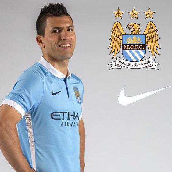 sergio aguero new manchester city home shirt 201516 mcfc