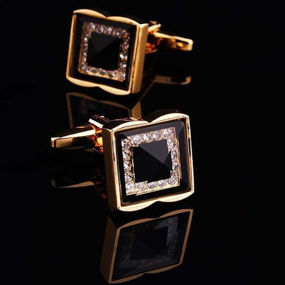 Cufflinks Men Stainless Steel Metal Gem Square Wedding Fashion Cuff Link Gold FB