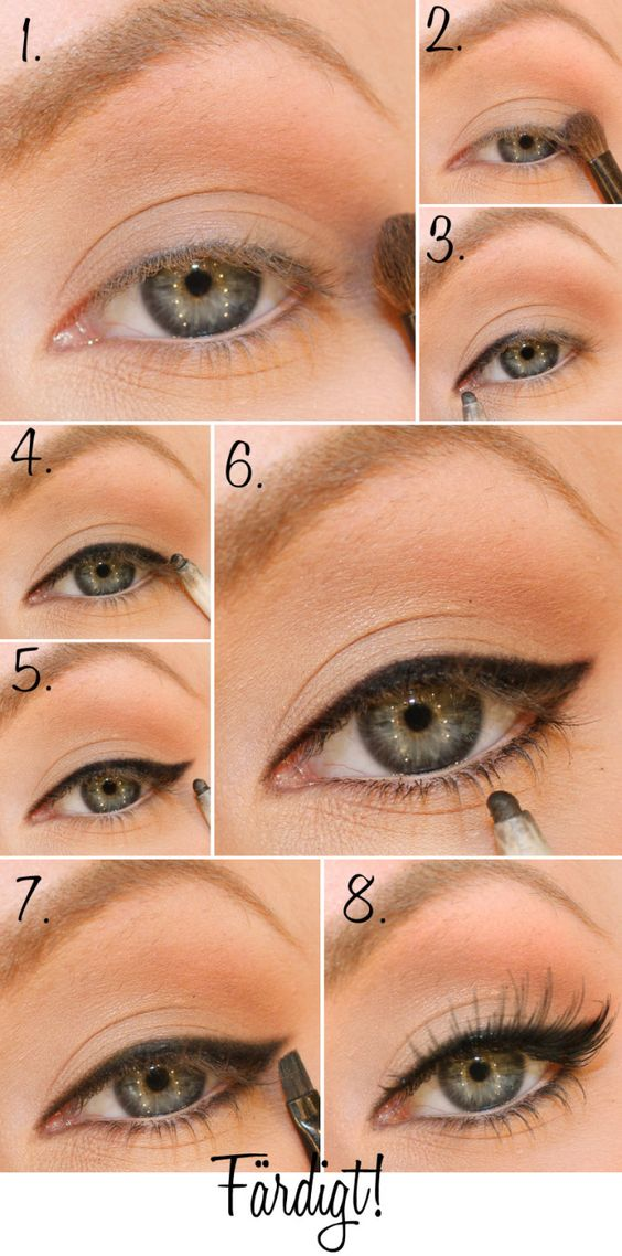1) Brown eye shadow along the crease. 2) Light shadow on the eyelid. 3) Black eyeliner very narrow deep on the upper lash line, toward the corner of the eye. 4) Continue with the line out to the outer corner of the eye, but paint this piece a little wider. 5) Paint a wing. 6. Add eyeliner even under the eye, but was very easy on the hand. 7. Finish liner so that it is a little sharp, using an inclined makeup brush. 8. Finish with false eyelashes!: