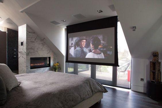 projector in bedroom. Drop down 132  projector screen in your bedroom Um Yes please BedroomUpgrade Home Theater Pinterest Projector screens Screens and Bedrooms