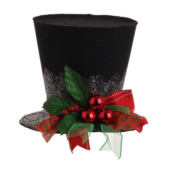 RAZ 7 Inch Black Holly Top Hat Christmas Decoration