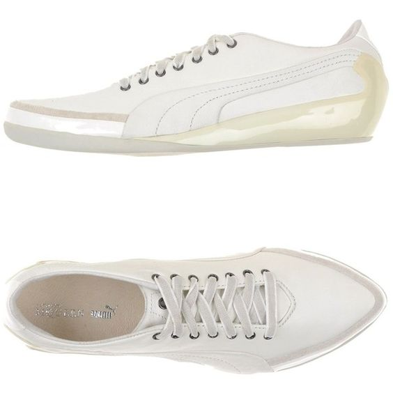 Alexander Mcqueen Puma Sneakers ($206) ❤ liked on Polyvore featuring shoes, sneakers, white, rubber sole shoes, white flat shoes, white shoes, leather shoes and white trainers