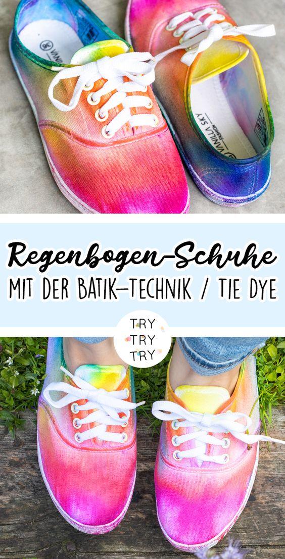Regenbogen-Schuhe mit der Batik-Technik / Tie Dye DIY