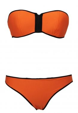 Orange Strapless Top Low Rise Bottom Bikini  This bikini is the newest trend and features a strapless design with front zipper, edged trims cut and match with a low rise bottoms. The bikini fabric will feel different on the body compared to regular swim fabric, it fits firmer and has more stretch resistance and very comfortable, works magic to smooth and shape your body. Be the first of your friends to own this!  Material : Nylon + Spandex $19