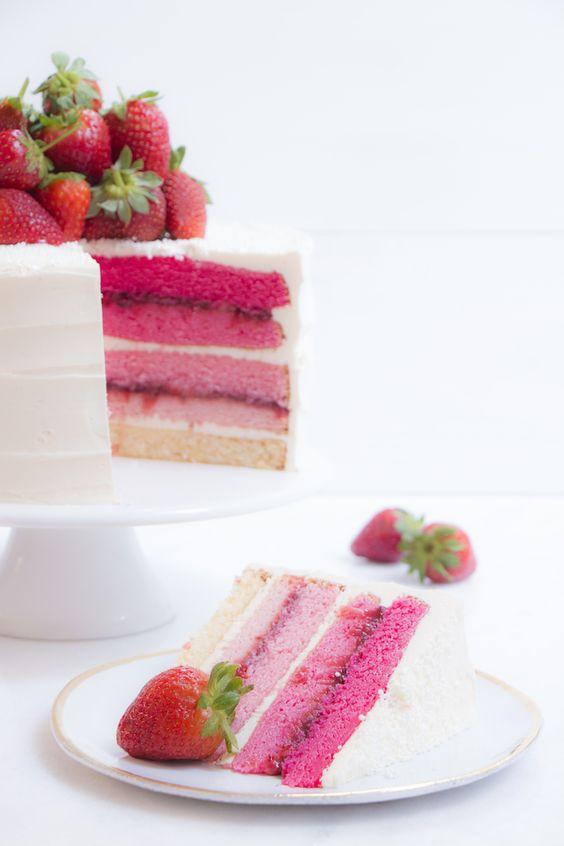Bolo Ombré Rosa | Vídeos e Receitas de Sobremesas: