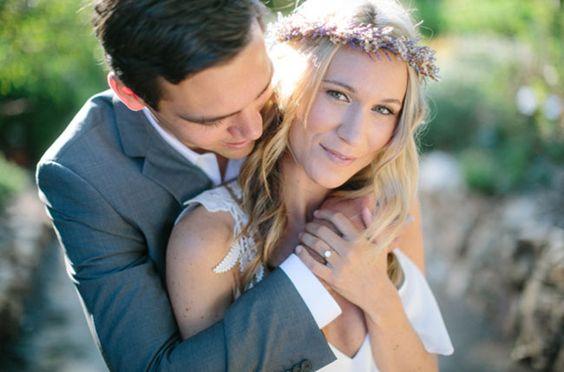 #Hochzeitsfotos mit #Lavendelkranz
