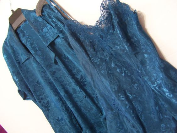 Robe and Chemise Nightgown Set Victoria Secret Teal Blue Jacquard Satin Honeymoon Summer Resort Cruise Wear PLEASE READ DETAILS AND MEASUREMENTS