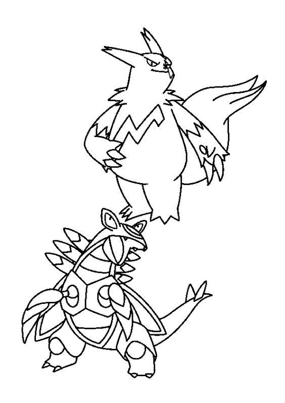 Le grand Pokémon légendaire Mangriff et son ami Armaldo à colorier