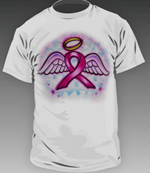 Breast cancer ribbon airbrush design add lettering to make for Custom t shirts and hats
