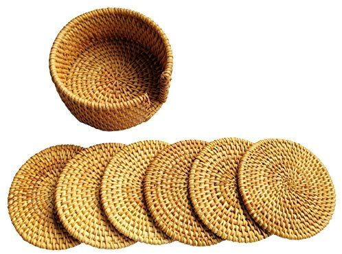 Amazon Com Actopus 6pcs 10cm 4 Inches Dia Rattan Coasters Dish Placemats With Holder For Pot Coffee Wine Bottle Kitchen Coffee Wine Wine Bottle Placemats
