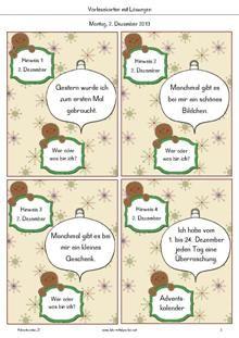 Adventsraten: für jeden Schultag im Advent ein Advents-Quiz, ein Adventsrätsel und ein kostenloses Adventsheft.