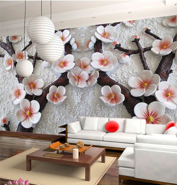 3D Mural Wallpaper Cherry Blossom Embossed Flower Wall Background Custom  Size  Unbranded  Modernism. Details about 3D Mural Wallpaper Cherry Blossom Embossed Flower