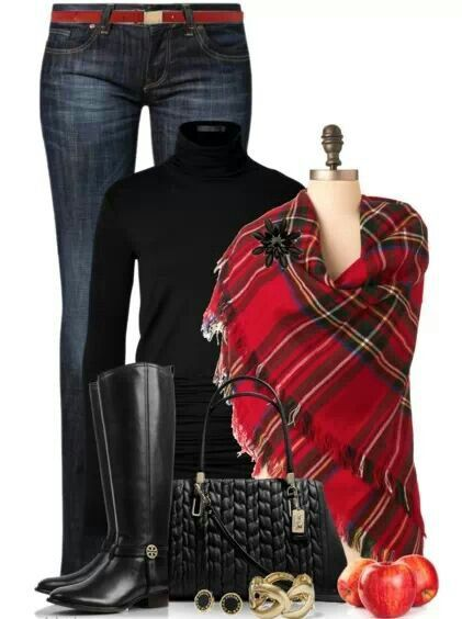 Love the black turtleneck and plaid scarf:
