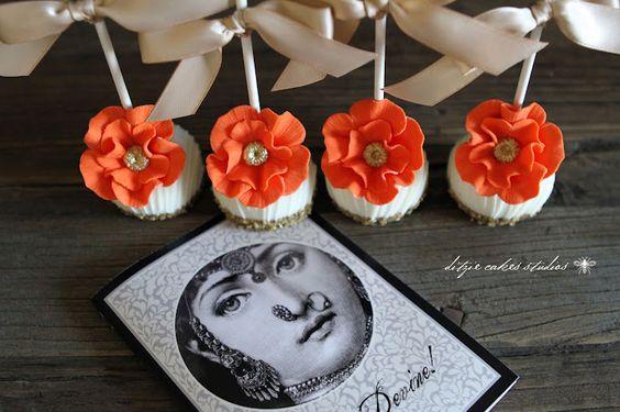{ditzie cakes} Orange Floral Pops!