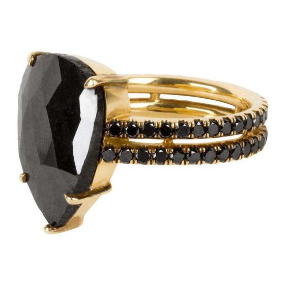 Joanne Fiske's jewellery line Thirteen31's pear-shaped black diamond ring would…