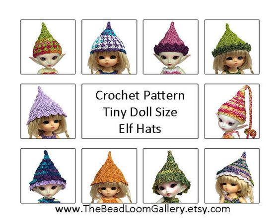 Mini Elf Knitting Pattern : Crochet Pattern - Miniature Doll Size Elf Hats - PukiPuki ...