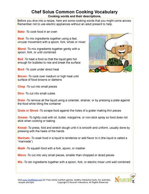 Printables Culinary Arts Worksheets our vocabulary page includes cooking terms and definitions associated matching worksheet can be found in