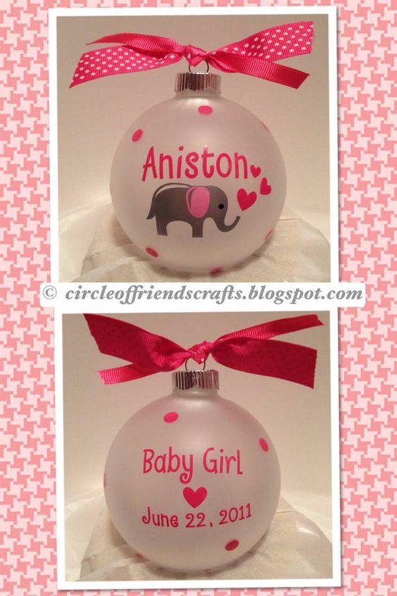 Cricut Vinyl Baby Gift Ideas : Baby elephants cricut and ornaments on