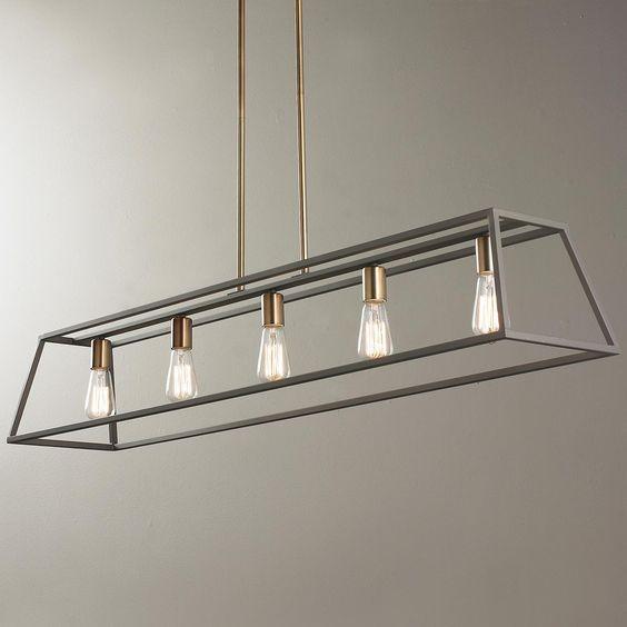 Led Industrial Kitchen Island Light Antique Finish With 3: Sleek Minimalist Island Chandelier - 5 Light