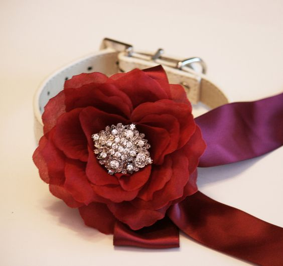 #Marsala Floral dog collar, Pet accessory, #Marsala Wedding accessory, Dog Lovers, Color of 2015, Marsala Pantone