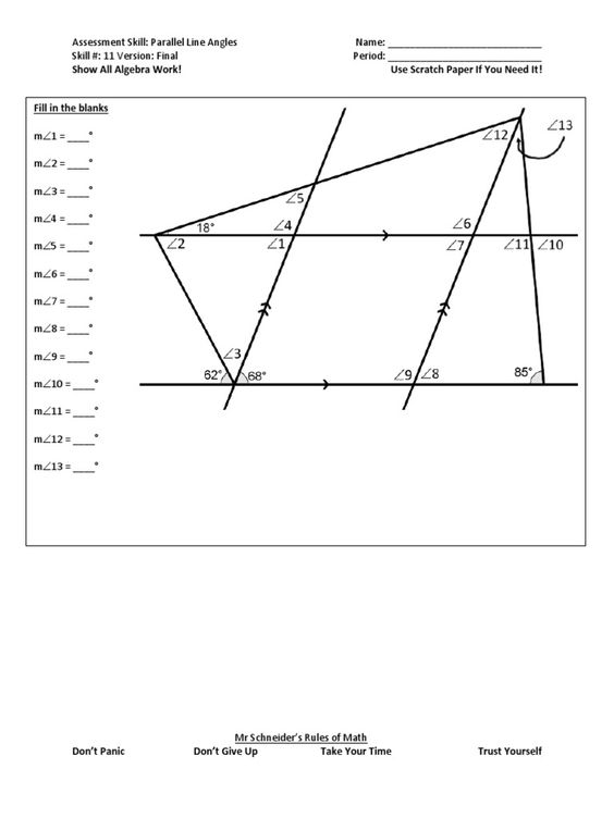 Parallel Line Angles Final Angles Worksheet Math Challenge Teaching Math