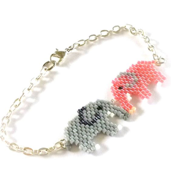Pink and Gray Elephant Bracelet, Bead Woven with Chain. $9.00, via Etsy.: