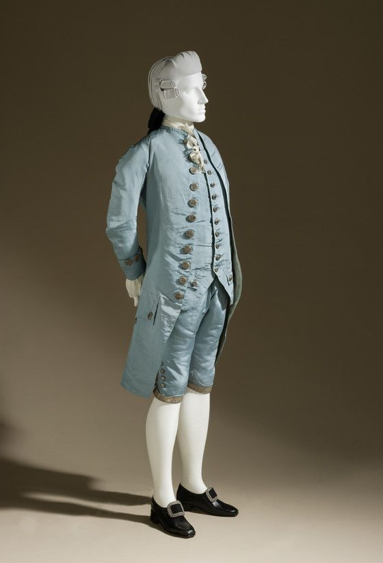 Three-piece Suit France, circa 1765 Costumes; principal attire (entire body) Silk plain weave (faille) with metallic-thread passementerie