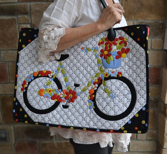 "This bicycle tote bag uses a panel for the bag from front from Jill's ""Bicycles and Blooms"" fabric collection. Kit will be shipped December 1, 2015.:"