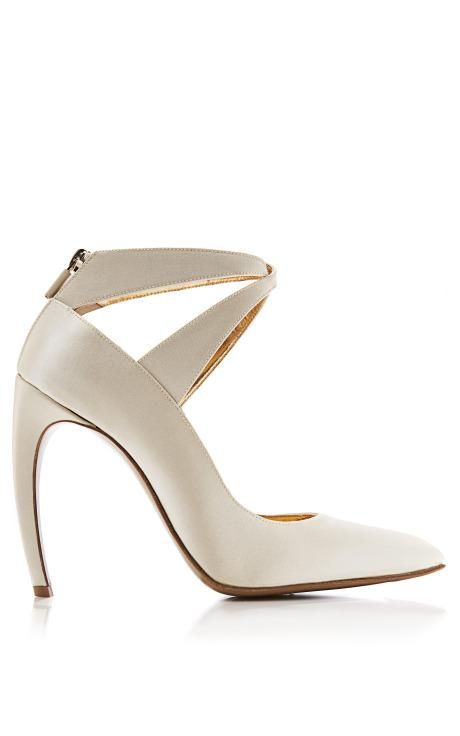 Curved-Heel Satin Pumps by Walter Steiger Now Available on Moda Operandi