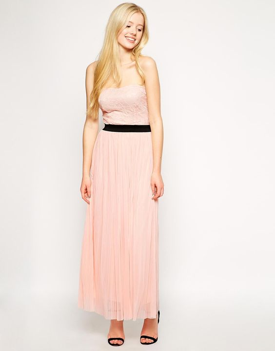 Pleated bandeau maxi dress
