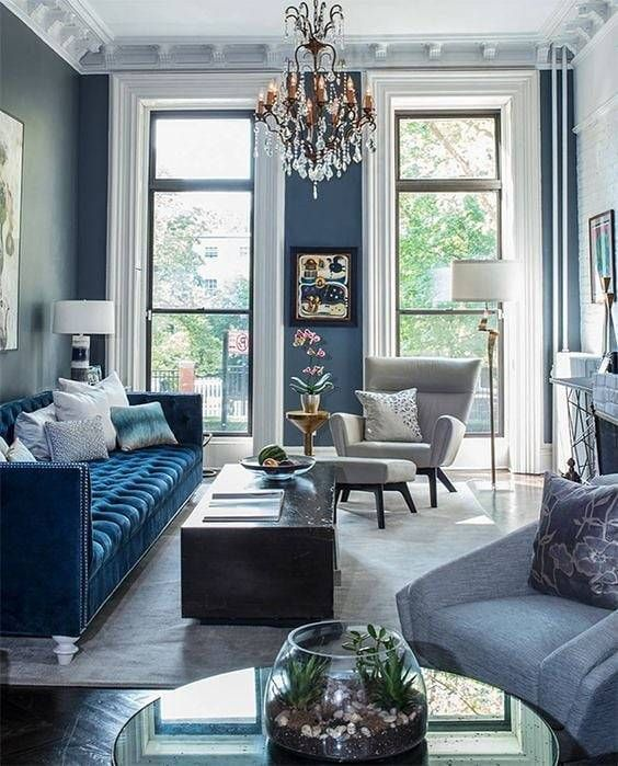 Beautiful Eclectic Style Interiordesign Decor Architecture Interiorstylingideas Https Blue Living Room Decor Blue Sofas Living Room Velvet Sofa Living Room
