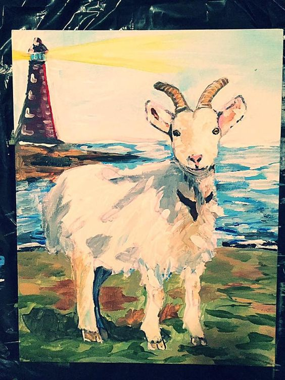 Light House. GOAT ART PRINTS. Paintings. Home Decor By Thetrinketcollection  Wall Art Ideas Goat Painting Ideas | MY ART ON ETSY!!