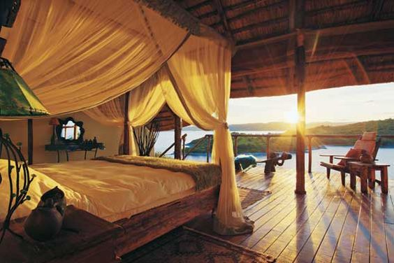 Bedrooms at Lupita Island in Lake Tanganyika, Tanzania are open to the elements.
