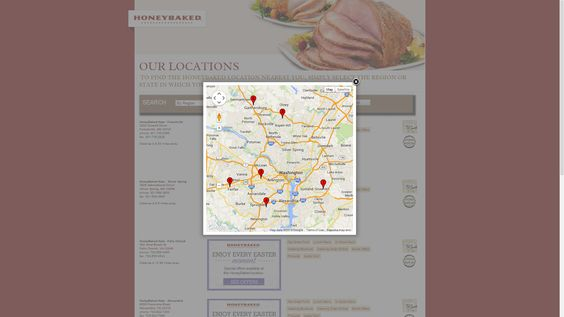 Map of DC-Area Honey Baked Ham locations