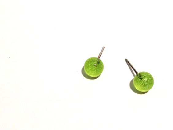 Tiny Green Studs Neon Green Speckled Stud Earrings by Leetie