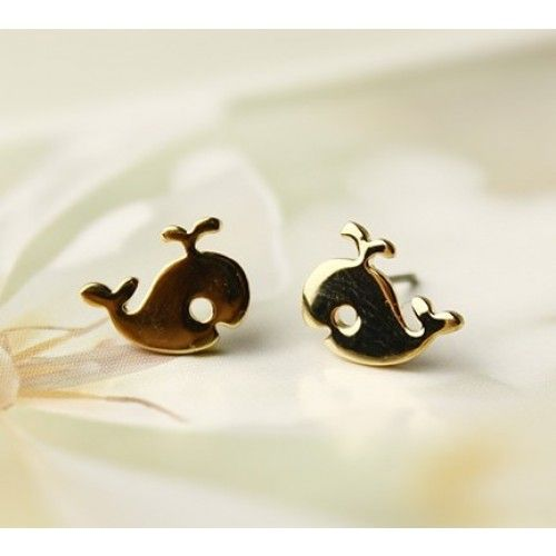 Cute  British Style Gold Little Whale Studs Earrings
