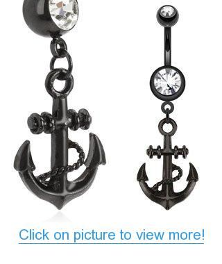 SBJ-0056 Black IP Stainless Steel Anchor Dangle Navel Ring #SBJ_0056 #Black #IP #Stainless #Steel #Anchor #Dangle #Navel #Ring