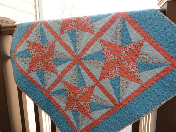 Blazing Star quilted table topper by Lovedquilts on Etsy, $35.00