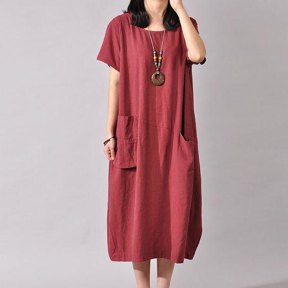 Short Sleeve cotton linen Dress  - Buykud- 1