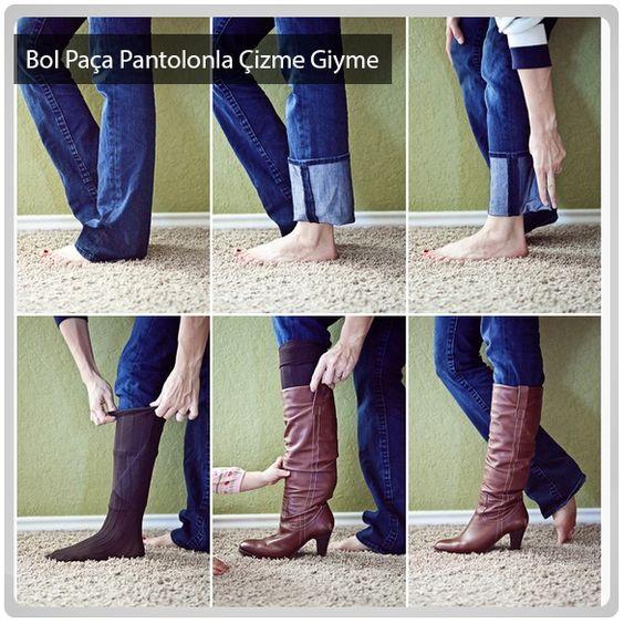 Bol paçalı pantolonunuzla da çizme giymek çok basit.: