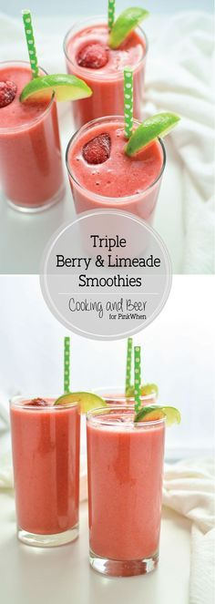 Triple Berry Limeade Smoothies - a tart, refreshing, and satisfying way to start your day!