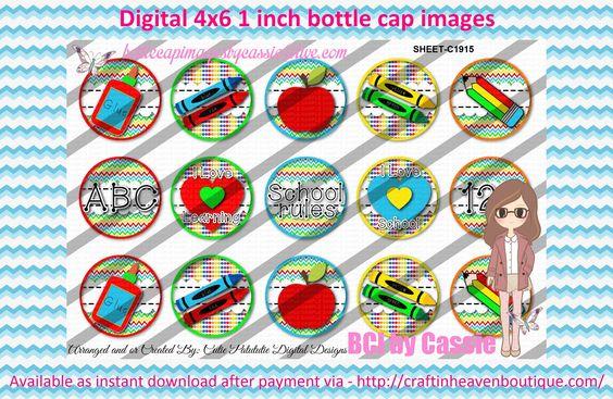 "1"" Bottle Caps (4X6) School mix - C1915"