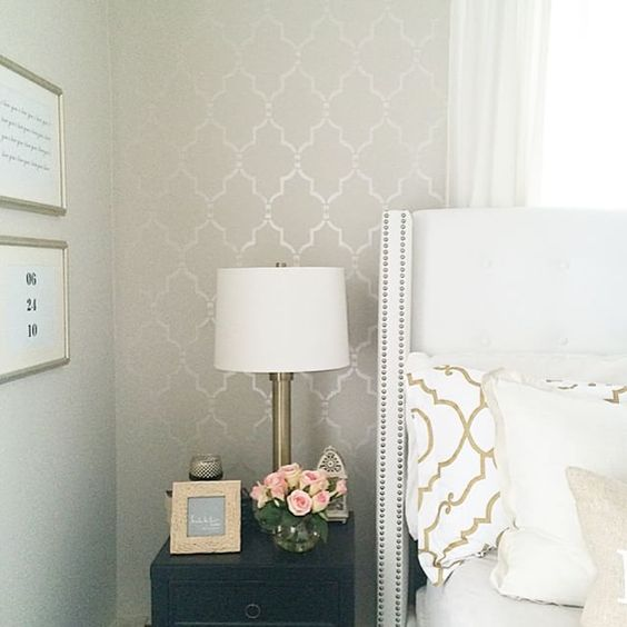 The Marrakeh Trellis Stencil From Cuttingedgestencils My Wall Color Is Edgecomb Gray By